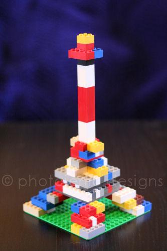 colorful lego eiffel tower